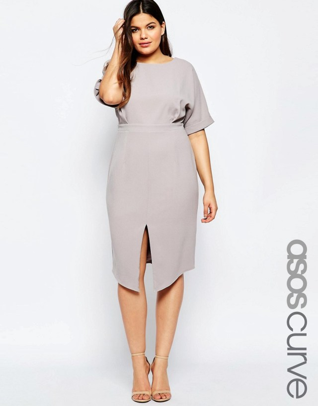 Мода для полных весна-лето 2016 серое платье.