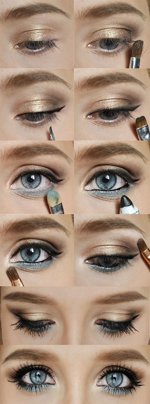 На фото: картинки демонстрирующие пошаговое проведение макияжа.
