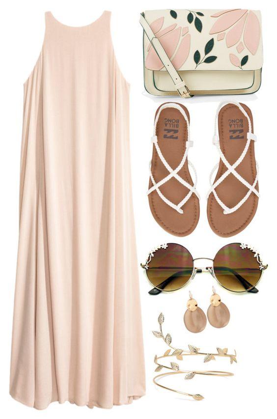 На фото: модный лук для знойного лета - сарафан, сандали, очки.