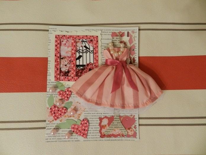 На фото: как сделать открытку с платьем для женщины своими руками.