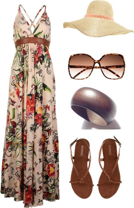 На фото: новый лук с длинным платьем с цветочным принтом с соломенной шляпкой.