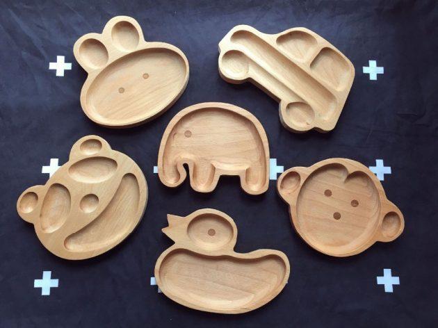 Детские тарелки из дерева в виде разных животных