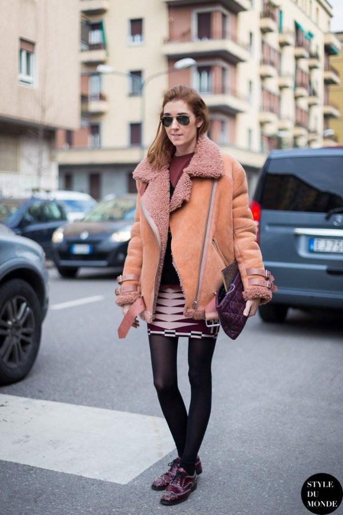 Идеи, с чем носить модную куртку 2017 в виде дубленки