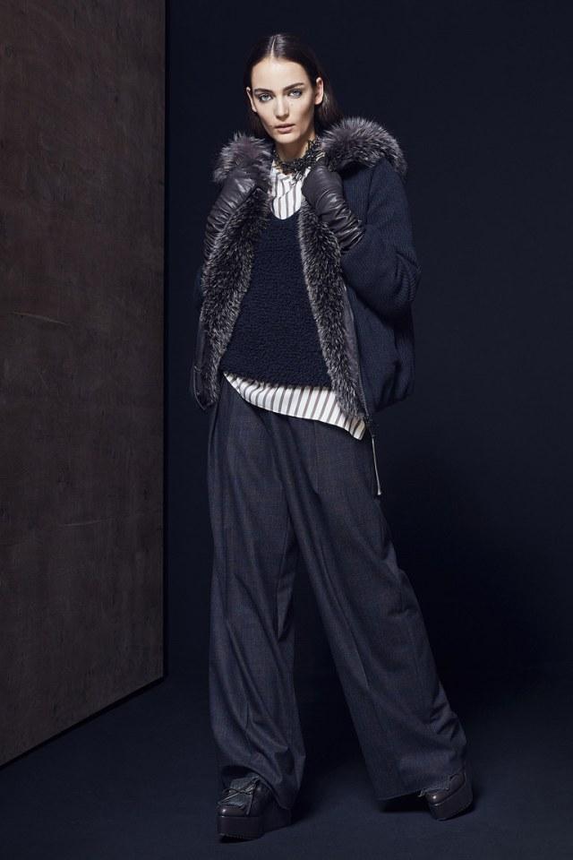 Черный укороченный на меху модный кардиган 2017 фото обзор коллекции Brunello-Cucinelli.