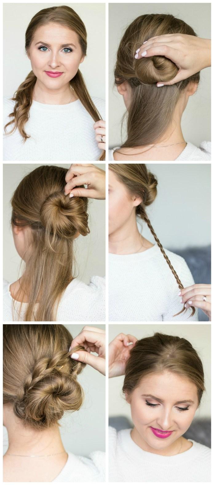 Сдержанная причёска с пучком на средние волосы фото схема прически