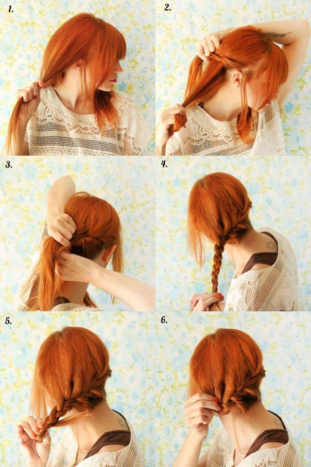 Собранная легкая причёска со средними волосами - фото мастер-класс