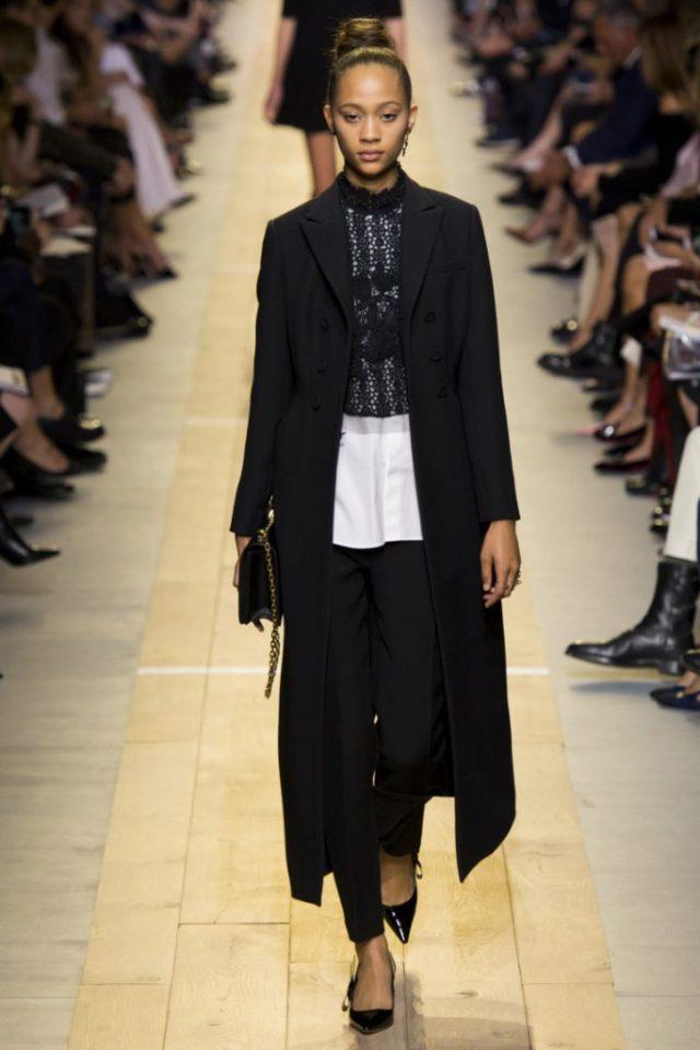 Модное длинное классическое пальто черного цвета 2017 - фото обзор коллекцииChristian Dior.