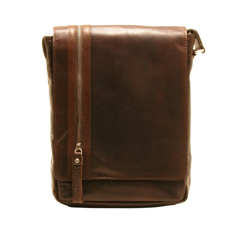 Rowallan – Brown North/South Pittsburgh Messenger Bag in Oil Tanned Buffalo Leather