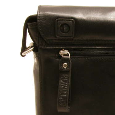 Rowallan – Black Baltimore Flap Over Messenger Bag in Oil Tanned Cowhide Leather