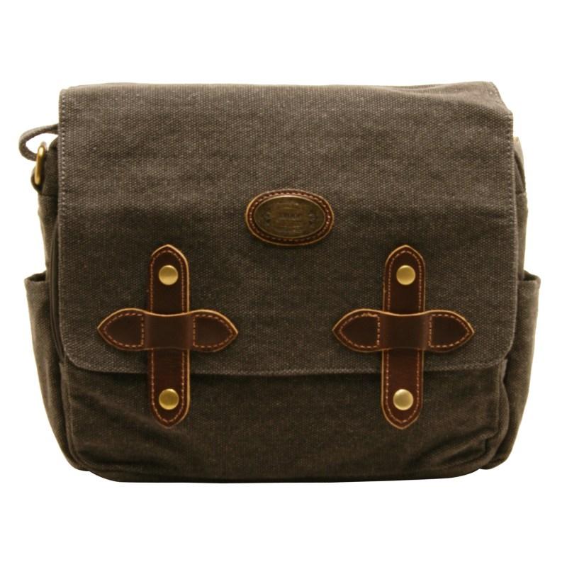 Troop London – Black Dorchester Messenger/Across Body Bag in Canvas-Leather
