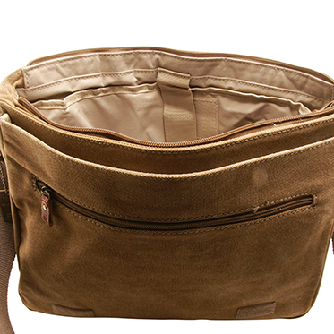 Troop London – Brown Canvas Classic Laptop Messenger Bag with Leather Trim