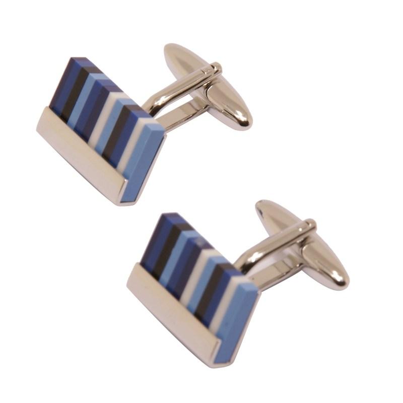 Sophos – Blue Tone Resin Stripe Rectangular Cufflinks in Gift Box