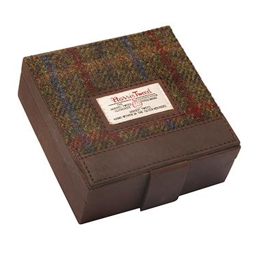 The British Bag Company – Breanais Harris Tweed Cuff Link Box with Leather Trim