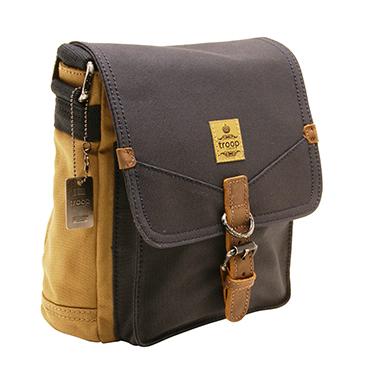 28c0e2b85d Troop London - Navy Blue   Camel Canvas Heritage Messenger Bag with ...
