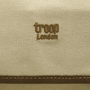 Troop London – Washed Stone Canvas Heritage Messenger Satchel Bag with Leather Trim