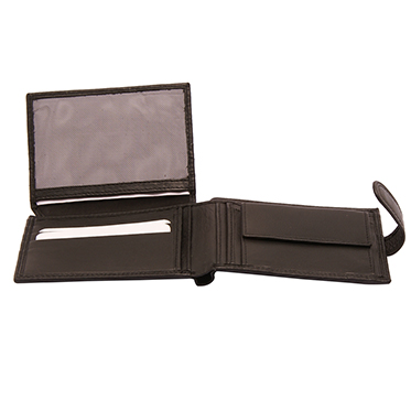 Hansson – Black Leather Nevada Billfold Wallet with Coin Purse and Tab Closure