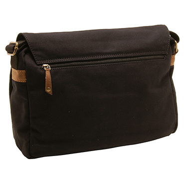 Cactus – Large Cross Body Flap Over Messenger Bag in Black Canvas