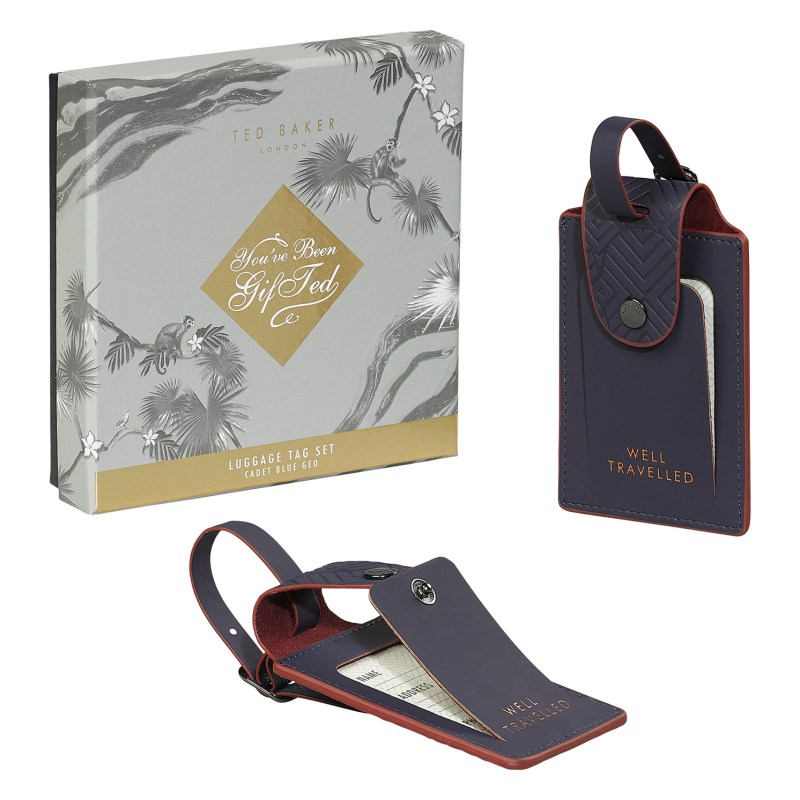 Ted Baker – Set of 2 Blue Cadet Luggage Tags in Presentation Gift Box