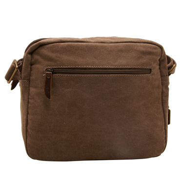 Troop London – Brown Heritage Messenger Bag with Padded Tablet Pouch in Canvas-Leather