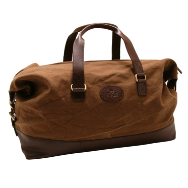 Rowallan – Brown Canvas Travel Holdall/Bag with Leather Trim and Shoulder Strap