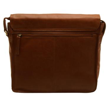 Rowallan – Medium East/West Cognac Pittsburg Messenger Bag in Oil Tanned Buffalo Leather