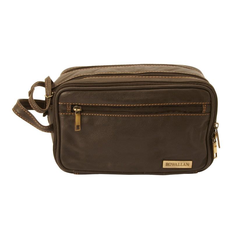 Rowallan – Brown Double Zip Soft Cow Hide Buchanan Leather Wash Bag