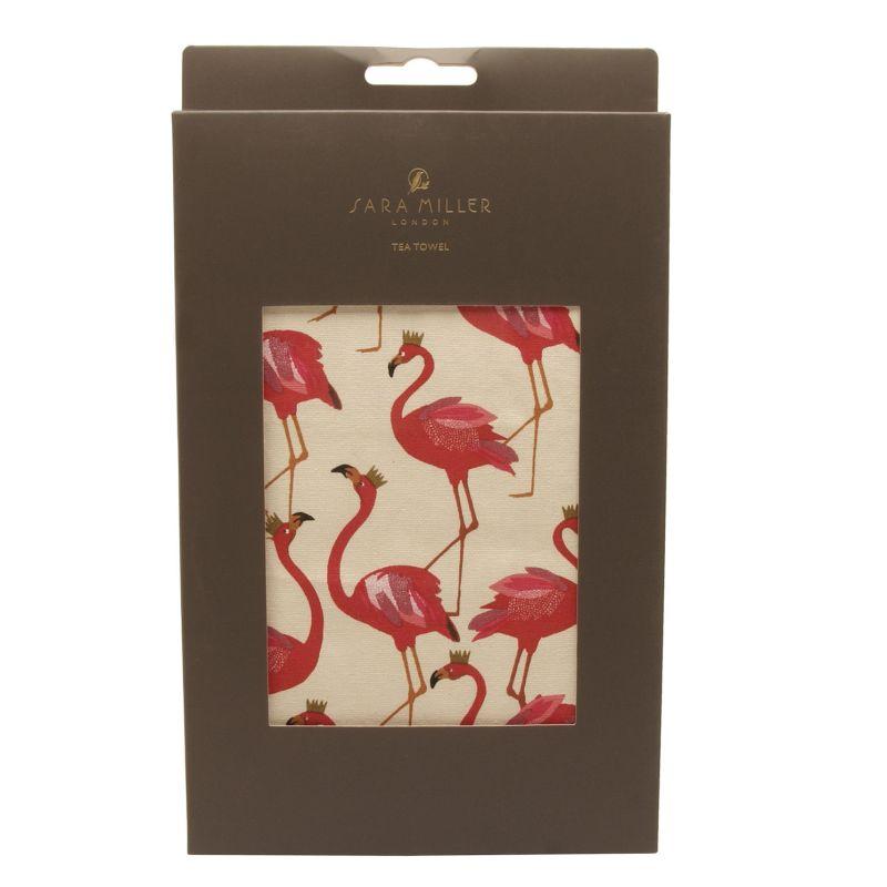 Sara Miller – Flamingo Repeat Tea Towel in Presentation Gift Box