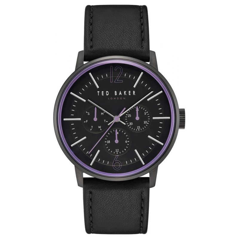 Ted Baker – JASON Black Leather Strap Watch in Presentation Gift Box