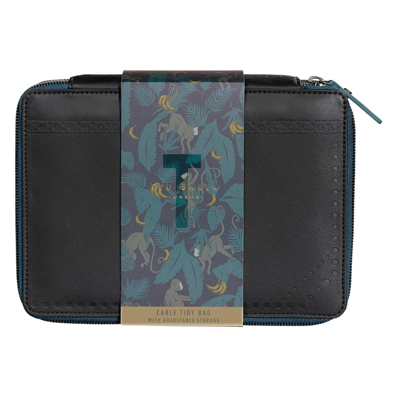 Ted Baker – Black Brogue Cable Tidy Bag with Adjustable Storage