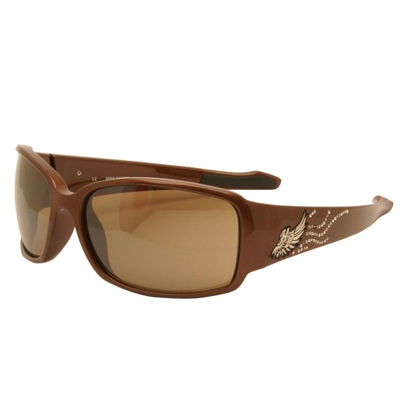 Harley Davidson – Metallic Brown & Diamante Wraparound Sunglasses with Case