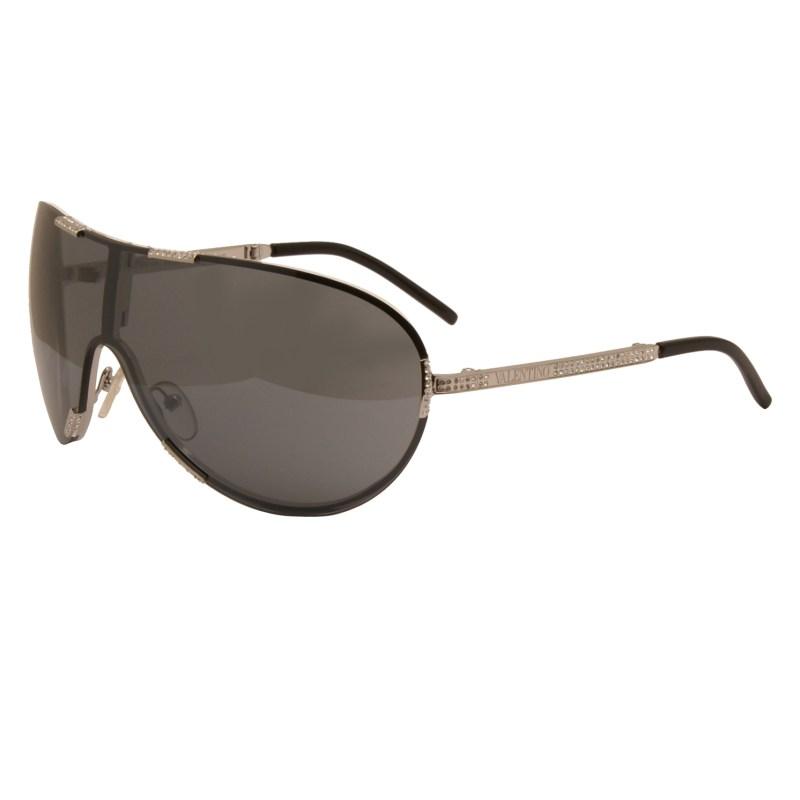 Valentino – Silver Rhinestone Embellished Vendome Shield Sunglasses with Case