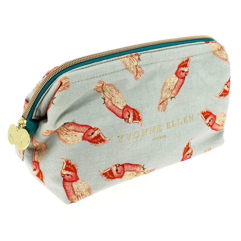 Yvonne Ellen – Grey with Pink Parrot Print Structured Top Toiletry/Washbag