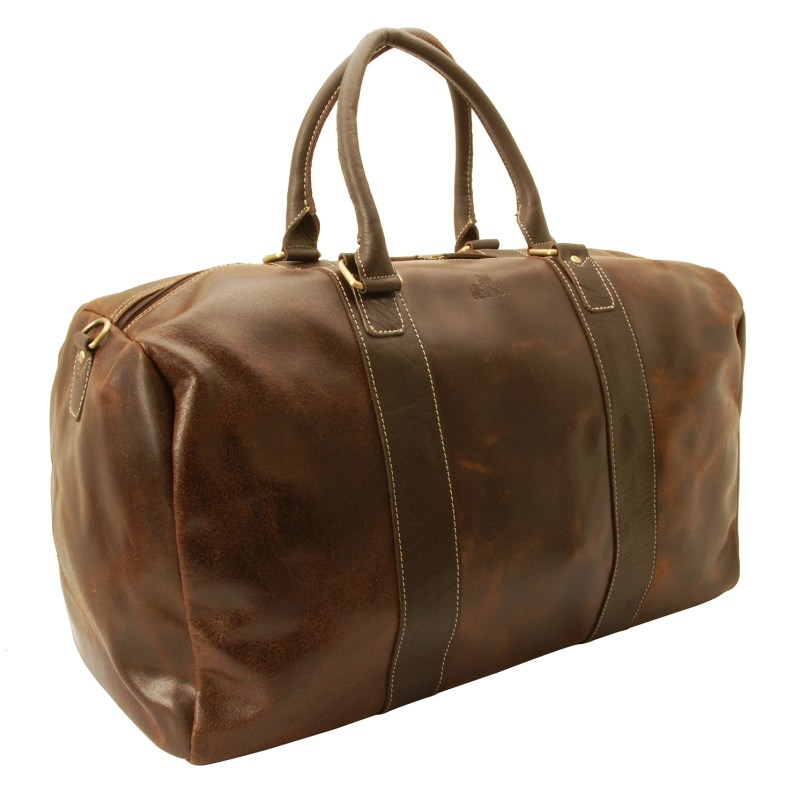 Rowallan – Brown Distressed Cow Leather Driftwood Travel Bag/Holdall with Strap