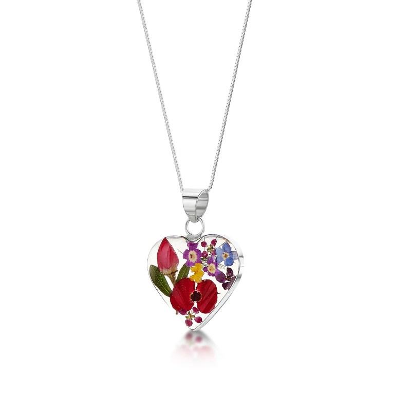 Shrieking Violet – Mixed Flowers Silver Medium Heart Pendant Necklace in Box