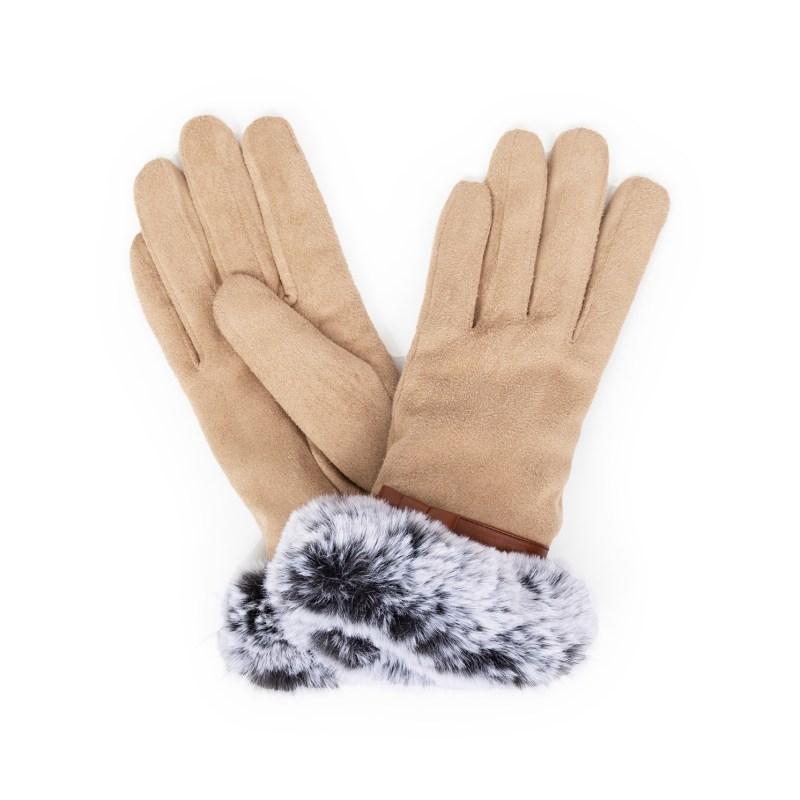 Powder – Stone Faux Suede Penelope Gloves with Powder Presentation Gift Bag