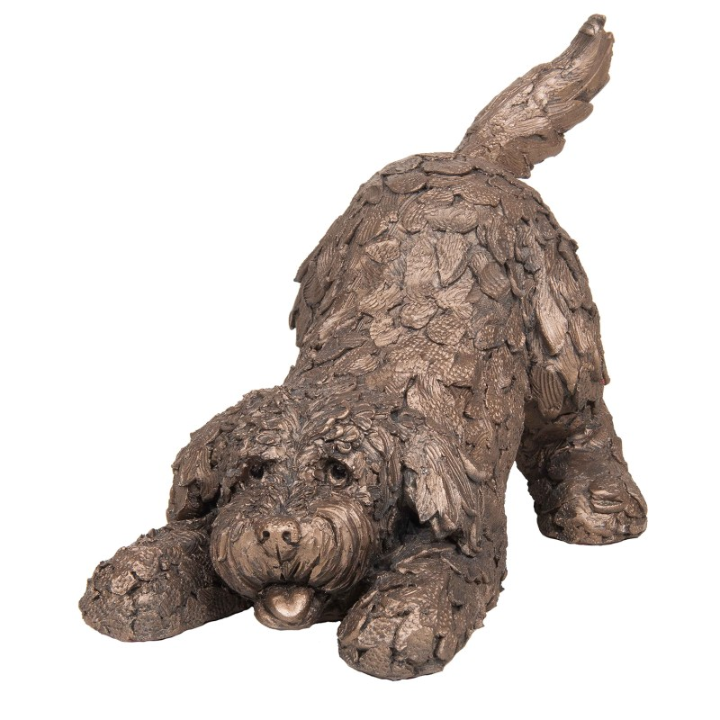 Frith Sculpture – Barney – Cockapoo Playing in Bronze Resin by Adrian Tinsley