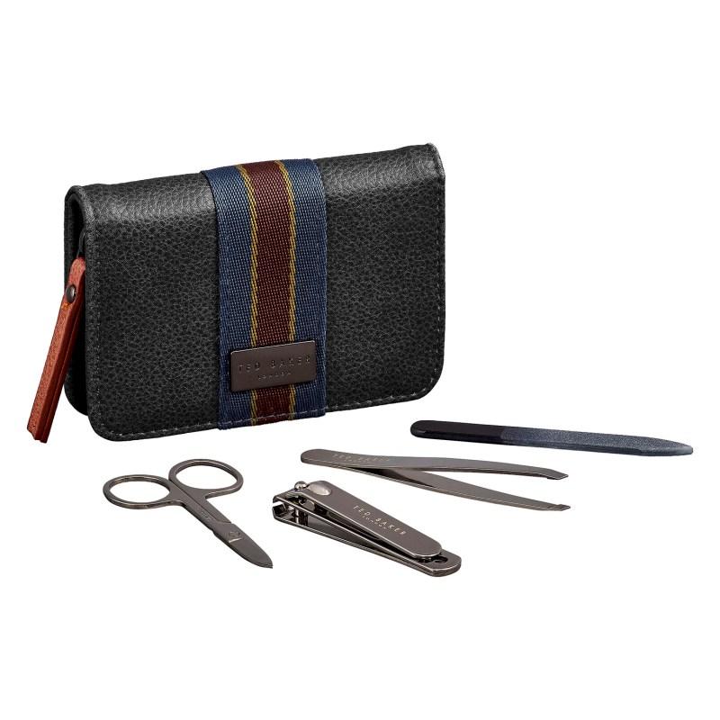 Ted Baker – 4 Piece Manicure Set in Black Textured Zip Around Case