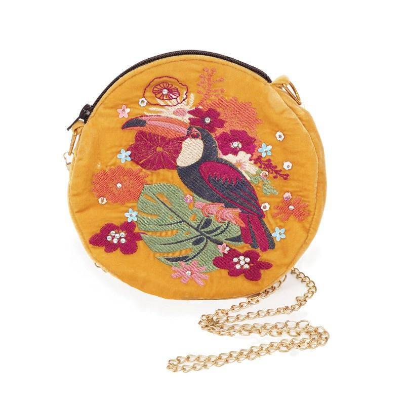 Powder – Mustard Toucan Velvet Embroidered Bag