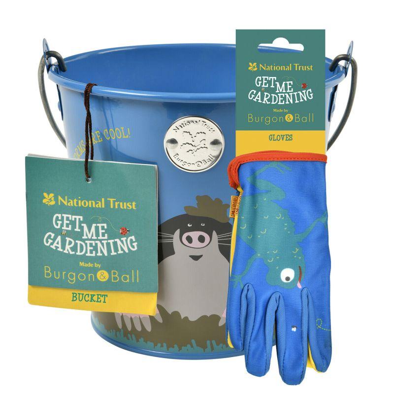 Burgon & Ball – National Trust Children's Mole Metal Bucket with Frog Gloves