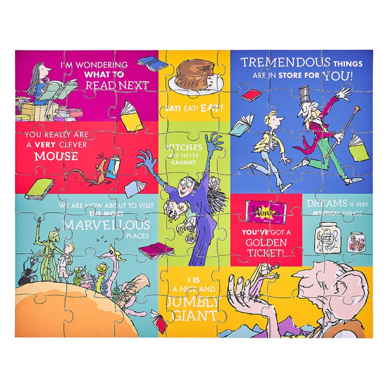 Petit Collage – Roald Dahl Two-Sided 49-Piece Puzzle in Keepsake Pouch