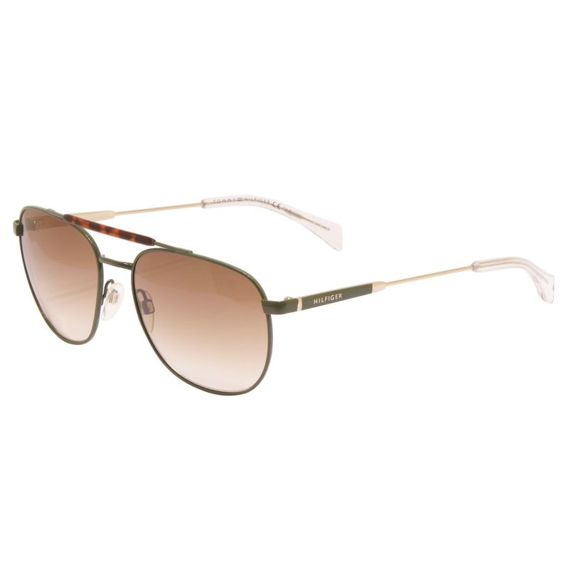 Tommy Hilfiger – Green & Gold Havana Pilot Style Sunglasses with Case