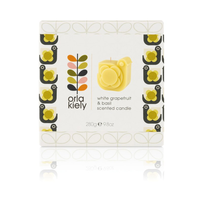 Orla Kiely – White Grapefruit & Basil Hen Moulded Candle in Gift Box