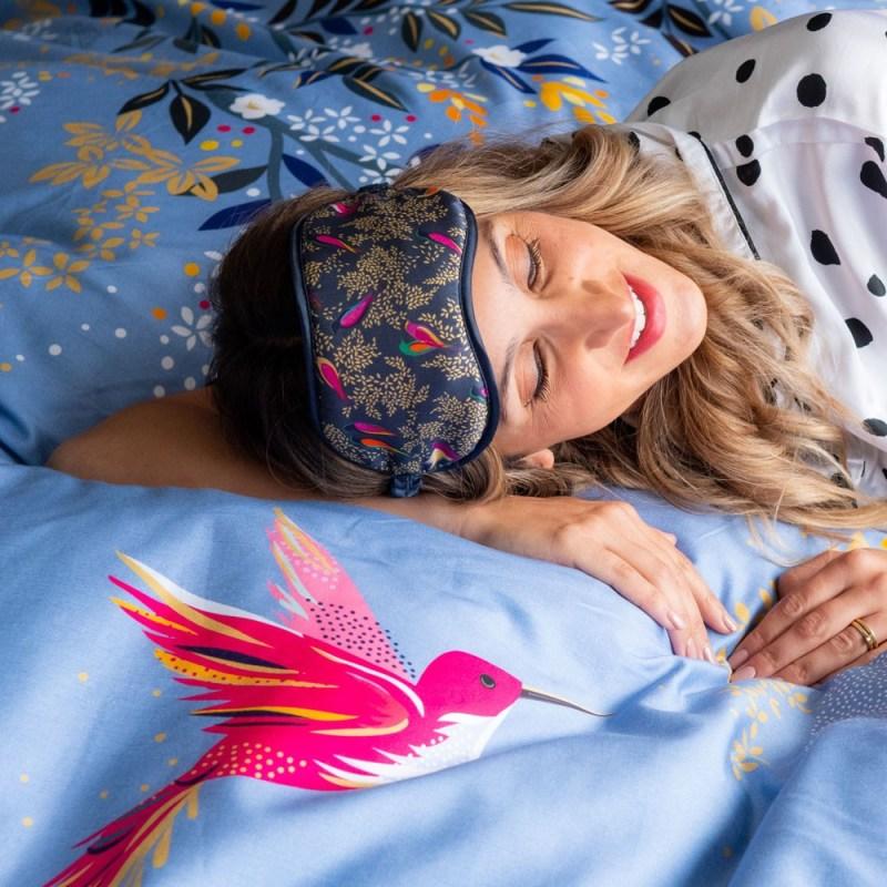 Sara Miller – Smokey Blue Birds in a Tree Silk Eye Mask in Presentation Box