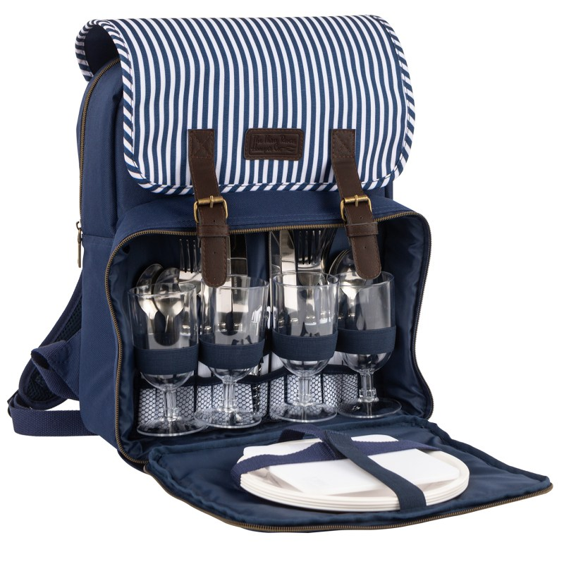 Navigate – 'Three Rivers' Navy Stripe 4 Person Picnic Insulated Backpack