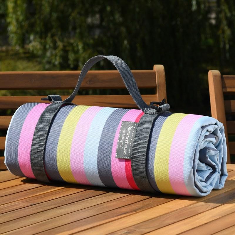 Navigate – Summerhouse Gardenia Stripe Picnic Blanket/Rug with Carry Handle