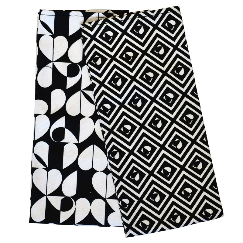 Navigate – 'Monochrome' Set of 2 Tea Towels & Matching Double Oven Gloves