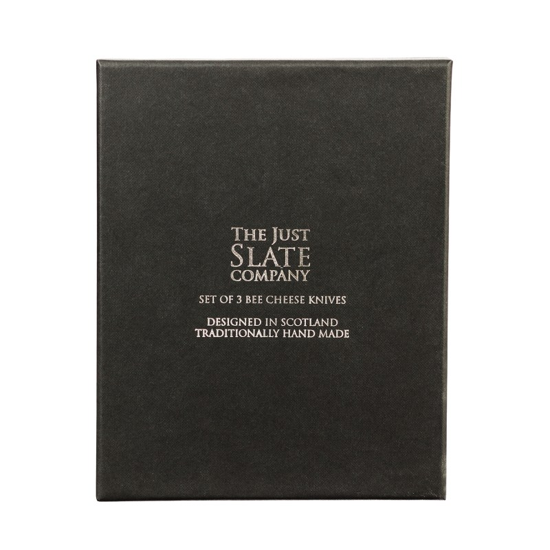 The Just Slate Company – 3 Gold Bee Cheese Knives in Presentation Gift Box