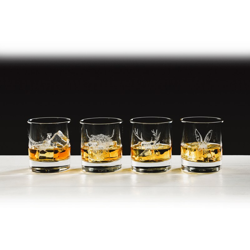 The Just Slate Company – Set of 4 Country Animals Engraved Glass Tumbler Set