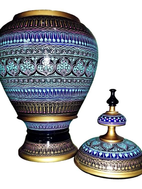 Hand Carved Wooden Candy Jar Golden & Sky blue