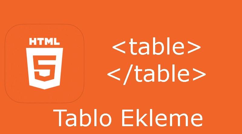 HTML tablo etiketi